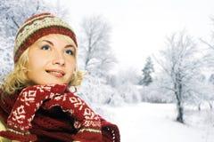 Donna in vestiti di inverno fotografia stock libera da diritti