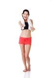 Donna in vestiti di sport pronti per la stretta di mano Fotografia Stock