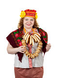 Donna in vestiti pieghi russi Immagini Stock Libere da Diritti