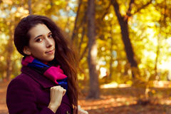 Donna in vestiti porpora sui precedenti di fogliame giallo Motivo di autunno Immagini Stock