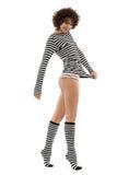 Donna in vestiti stripy Fotografie Stock Libere da Diritti