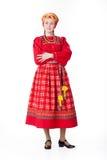 Donna in vestiti tradizionali russi Fotografia Stock