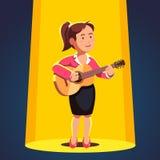 Donna in vestito convenzionale che gioca chitarra e che canta illustrazione vettoriale