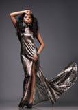 Donna in vestito d'argento immagini stock libere da diritti
