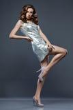 Donna in vestito d'argento immagine stock libera da diritti