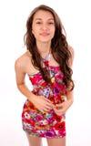 Donna a in vestito da estate Fotografie Stock