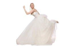 Donna in vestito da sposa isolato su bianco immagini stock libere da diritti
