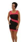Donna in vestito dal nero e da colore rosa Fotografie Stock Libere da Diritti