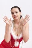 Donna in vestito dalla Santa con il lustrino Fotografia Stock Libera da Diritti