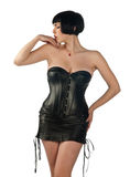 Donna in vestito di cuoio Immagini Stock Libere da Diritti