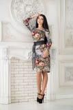 Donna in vestito luminoso del Midi in studio immagini stock