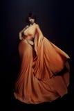 Donna in vestito lungo Fotografie Stock