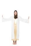 Donna in vestito lungo barefoot Isolato su priorità bassa bianca fotografie stock