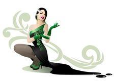 Donna in vestito nero Royalty Illustrazione gratis