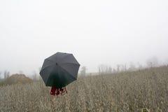 Donna in vestito rosso con l'ombrello nero contro una mattina s nebbiosa Fotografie Stock
