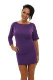 Donna in vestito viola Fotografia Stock