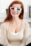 Donna in vetri del cinematografo 3d Fotografia Stock Libera da Diritti