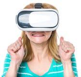 Donna in vetri di VR Fotografia Stock