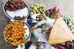 Donna vietnamita che vende frutti Fotografie Stock Libere da Diritti