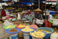Donna vietnamita che vende i germogli di bambù sul mercato Fotografia Stock