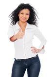 Donna vivace che mostra i pollici in su Fotografia Stock