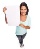 Donna vuota moderna sorridente divertente del segno immagine stock libera da diritti