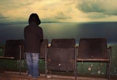 Donnant sur la mer, ou la salle de cinéma qui n'existe pas Images libres de droits