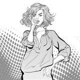 Donne abbastanza sexy che guardano worriedly Giovani donne graziose Ragazza della bionda di fascino Donna sveglia che pensa a qua Fotografie Stock