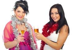 Donne alla festa di Natale Immagine Stock