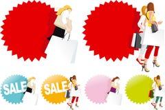 Donne alla moda con i sacchetti della spesa illustrazione vettoriale