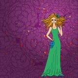 Donne alla moda di scarabocchio con capelli lunghi Immagine Stock