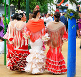 Donne andaluse nella fiera, Siviglia, Andalusia, Spagna Immagini Stock