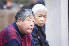 Donne anziane cinesi a Hangzhou, Cina immagine stock