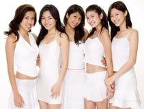 Donne asiatiche in #3 bianco Immagine Stock