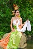 Donne asiatiche in costume tradizionale Immagine Stock Libera da Diritti