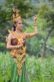 Donne asiatiche in costume tradizionale Fotografia Stock Libera da Diritti