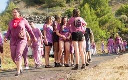 Donne bagnate felici dopo Haro Wine Festival Fotografie Stock Libere da Diritti