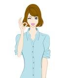 Donne ballonzolate dei capelli, segno GIUSTO illustrazione vettoriale
