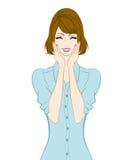 Donne ballonzolate dei capelli, sorridenti illustrazione vettoriale