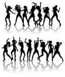 Donne belle che ballano le siluette Fotografie Stock Libere da Diritti