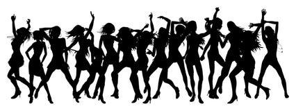 Donne belle che ballano le siluette Fotografia Stock Libera da Diritti