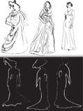 Donne in bianco e nero negli schizzi classici del vestito Immagine Stock Libera da Diritti