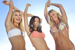 Donne in bikini che ballano sulla spiaggia piena di sole Fotografia Stock