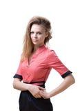 Donne bionde piacevoli snelle in un vestito rosa Fotografia Stock
