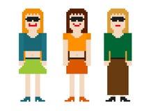 donne 8bit messe Illustrazione Vettoriale