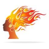 Donne brucianti dei capelli e della testa Immagine Stock