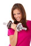 Donne in buona salute che tengono i pesi Fotografia Stock Libera da Diritti