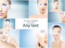 Donne in buona salute con un ologramma del laser sugli occhi Fotografie Stock