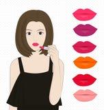 Donne che applicano rossetto Immagine Stock