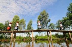 Donne che camminano sul ponte in Dong Thap, Vietnam del sud immagini stock